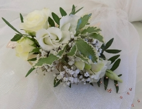Ivory and silver wrist corsage