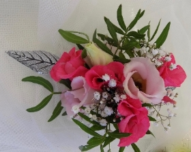 Pink and Silver wrist corsage
