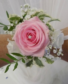 pink Rose with diamante wrist corsage