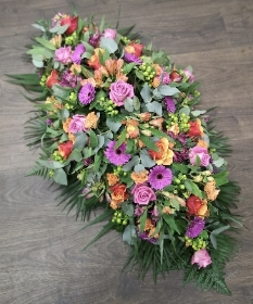 Pink and Orange Casket Spray